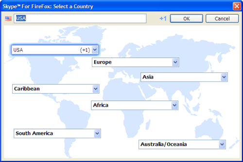 Skype Web Toolbar Country Selector